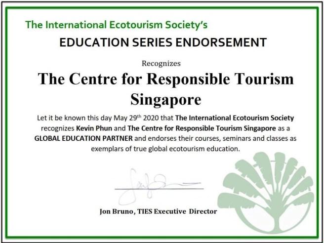 La Société internationale d'écotourisme (TIES) approuve les cours de courte durée proposés par le Center for Responsible Tourism.