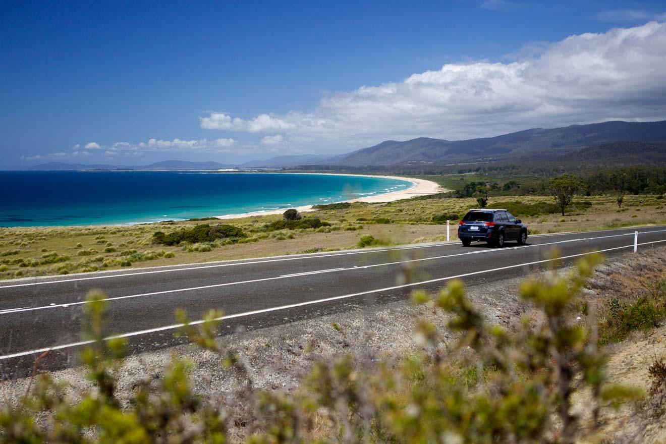 Road Trip en Lagoons Beach en Tasmanie