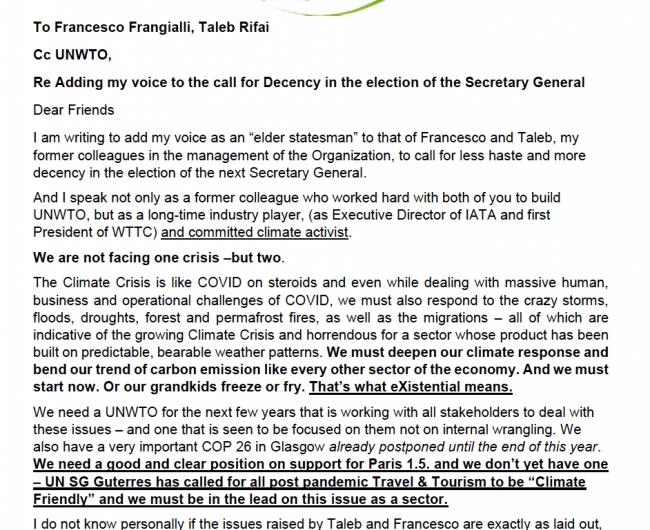 Geoffrey Lipman appelle à la décence lors de l'élection du Secrétaire général de l'OMT