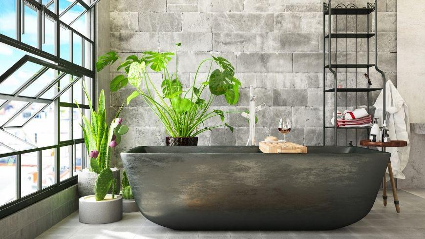 salle de bain verte avec ventilation naturelle