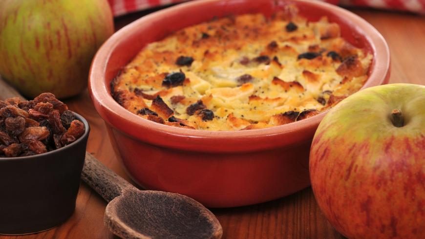pudding à la manne et aux pommes