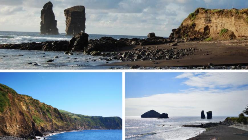 Praia dos Mosteiros.  Plage des Açores.
