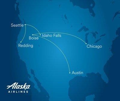 Alaska Airlines lance de nouveaux vols Boise, Chicago, Idaho Falls et Redding