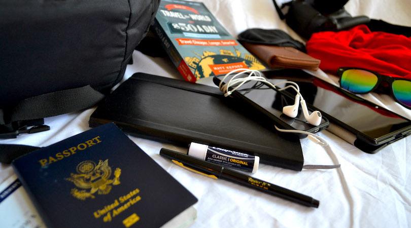 Certaines des choses que j'emporte avec moi lors de mes voyages