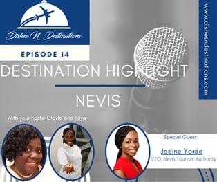 Le PDG de la Nevis Tourism Authority discute avec Toya et Clavia