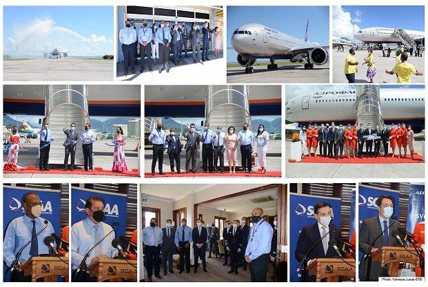 Le vol inaugural d'Aeroflot atterrit aux Seychelles
