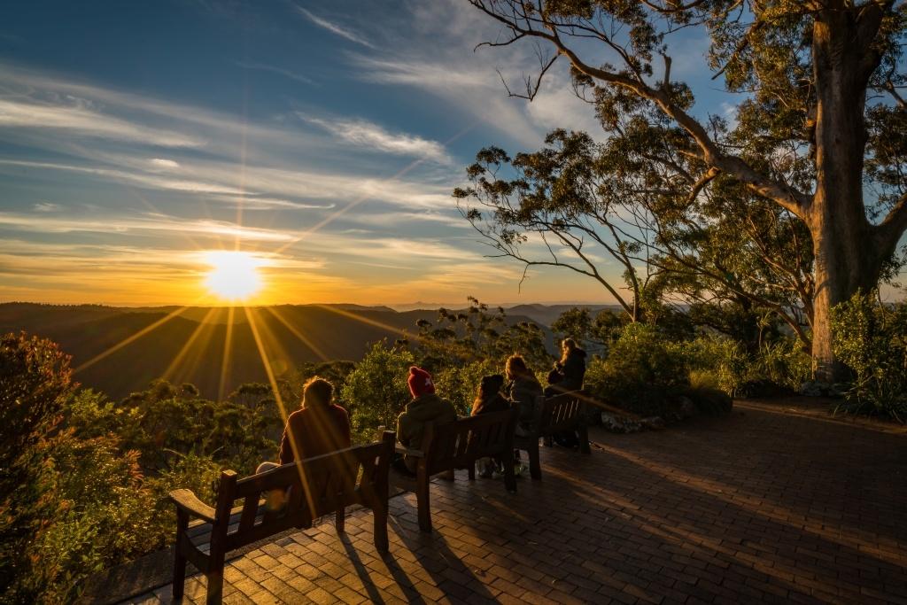 Terrasse Binna Burra au coucher du soleil.  Image fournie par l'auteur.