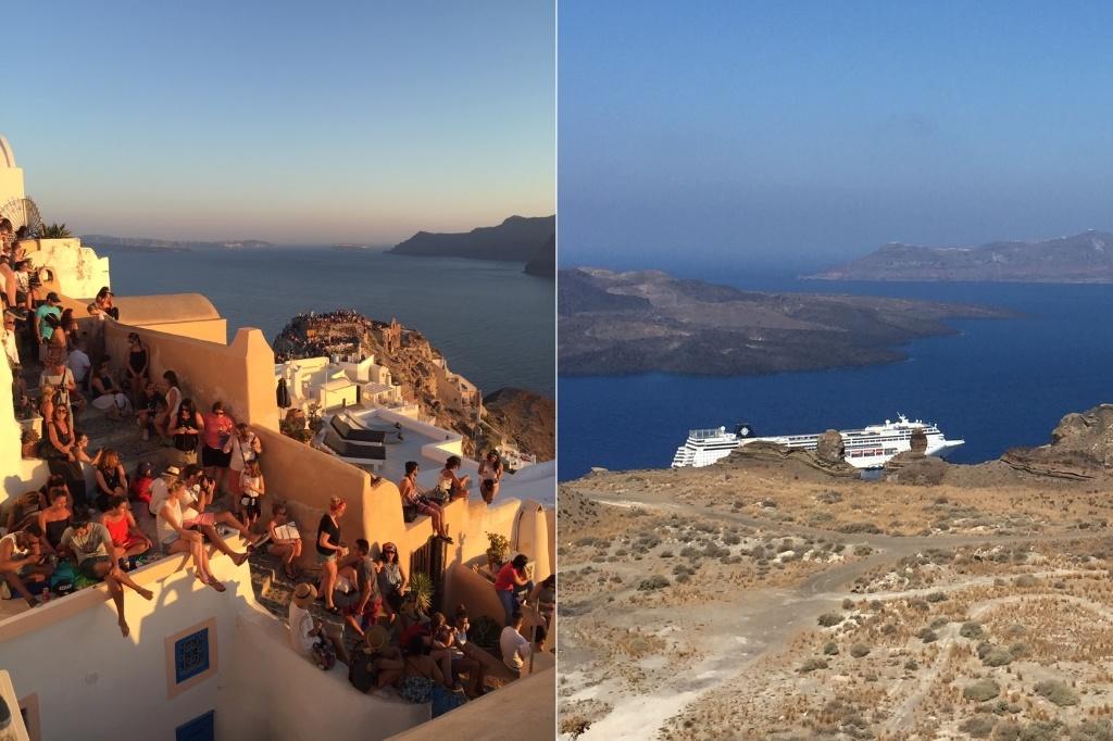 Vues pré-pandémiques en Grèce : les touristes profitent d'un magnifique coucher de soleil sur Santorin et d'un bateau naviguant au large de la côte de Santorin.  Images (c) Tazim Jamal.