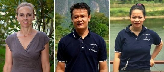 Peuple Naga d'Argent (LR) Rachel Dechaineux, Pong Phommaxay et Somchin Souvannaseng